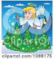 Christmas Angel Girl With A Magic Wand Over Trees