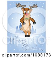 Clipart Merry Christmas Greeting And Reindeer In The Snow Royalty Free Vector Illustration