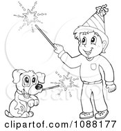 Clipart Outlined Boy And Dog With Fourt Of July Sparklers Royalty Free Vector Illustration