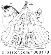 Clipart Outlined Big Top Circus Tent And Animals Royalty Free Vector Illustration