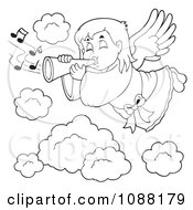 Clipart Outlined Angel Girl Playing A Trumpet In Heaven Royalty Free Vector Illustration by visekart