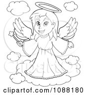 Clipart Outlined Angel Girl With A Wand Royalty Free Vector Illustration