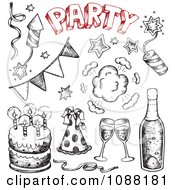 Clipart Black And White And Red Sketched Birthday Cakes And New Year Party Items Royalty Free Vector Illustration by visekart