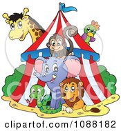 Clipart Big Top Circus Tent And Animals Royalty Free Vector Illustration by visekart #COLLC1088182-0161