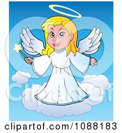 Clipart Angel Girl With A Wand Royalty Free Vector Illustration