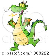 Clipart Happy Green Dragon Dancing Royalty Free Vector Illustration