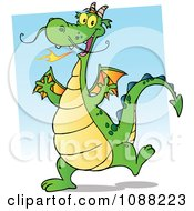 Clipart Happy Green Fire Breathing Dragon Dancing Royalty Free Vector Illustration