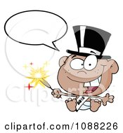 Clipart Talking Black New Year 2012 Baby Wearing A Top Hat And Holding A Sparkler Royalty Free Vector Illustration by Hit Toon