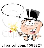 Clipart Talking White New Year 2012 Baby Wearing A Top Hat And Holding A Sparkler Royalty Free Vector Illustration by Hit Toon
