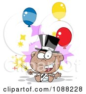 Clipart Black New Year 2012 Baby With A Top Hat Sparkler And Party Balloons Royalty Free Vector Illustration by Hit Toon