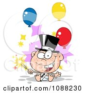 Clipart White New Year 2012 Baby With A Top Hat Sparkler And Party Balloons Royalty Free Vector Illustration