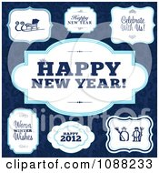Clipart White And Blue Happy New Year And Winter Frames Royalty Free Vector Illustration