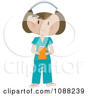 Clipart Brunette Nurse In Scrubs Holding A Clipboard Royalty Free Vector Illustration