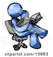 Blue Man Sitting Cross Legged In A Chair And Reading A Book Clipart Illustration by Leo Blanchette