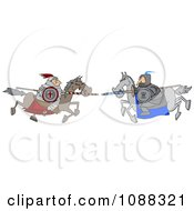 Jousting Knight Opponents Racing Towards Each Other With Lances