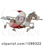 Medieval Jousting Knight Racing Forward With The Lance Down