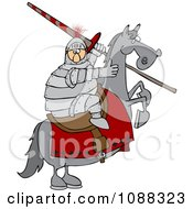 Clipart Medieval Jousting Knight Holding A Lance On A Rearing Horse Royalty Free Vector Illustration