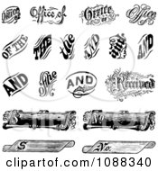 Clipart Black And White Vintage Word And Scroll Design Elements Royalty Free Vector Illustration