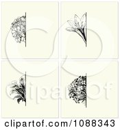 Clipart Vintage Black Flower And Beige Invitation Backgrounds Royalty Free Vector Illustration