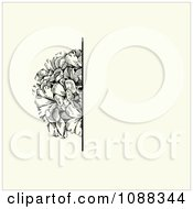 Clipart Vintage Black Flower And Beige Invitation Background Royalty Free Vector Illustration