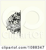 Clipart Vintage Black Flower Bunch And Beige Invitation Background Royalty Free Vector Illustration