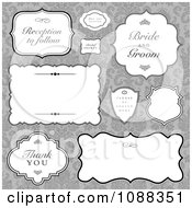 Clipart Vintage Wedding Label Frames Over Gray Damask Royalty Free Vector Illustration by BestVector