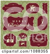 Clipart Red Christmas Labels Over Green Damask Royalty Free Vector Illustration