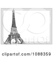 Clipart Black And White Eiffel Tower And Frame Royalty Free Vector Illustration