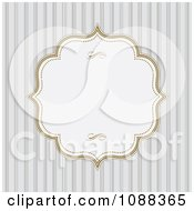 Clipart White Frame With Gold Edges Over Gray Stripes Royalty Free Vector Illustration
