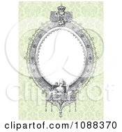 Clipart Victorian Oval Frame And Statues Over Green Damask Royalty Free Vector Illustration by BestVector