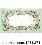 Clipart Victorian Wedding Frame With White Copyspace On Green Damask Royalty Free Vector Illustration