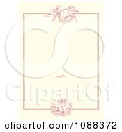 Clipart Pink Victorian Cupid Wedding Or Valentine Frame On Beige Royalty Free Vector Illustration by BestVector