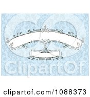 Clipart Beautiful Decorative Banners Over Blue Damask Royalty Free Vector Illustration by BestVector