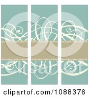 Clipart Tan Banners And Beige Swirls Over Turquoise Royalty Free Vector Illustration by BestVector