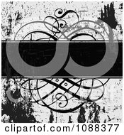 Clipart Black And White Ornate Swirl Text Bar And Grunge Royalty Free Vector Illustration by BestVector