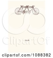 Vintage Tandem Bicycle And Blossoms On Beige