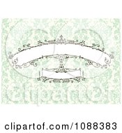 Beautiful Decorative Banners Over Green Damask