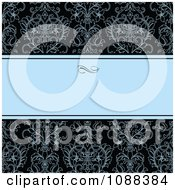 Clipart Blue Text Bar With Damask On Black Royalty Free Vector Illustration