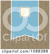 Clipart Blue And Beige Pennant Banner Over Tan Damask Royalty Free Vector Illustration
