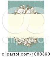 Vintage Roses Around A Beige Frame On Turquoise Damask