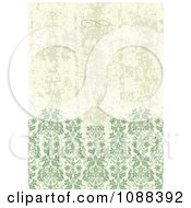 Clipart Distressed Green And Tan Damask Pattern Background Royalty Free Vector Illustration