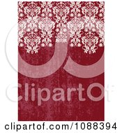 Distressed Red Background With White Damask
