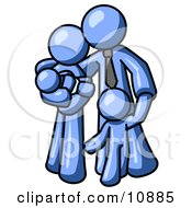 Blue Family Man A Father Hugging His Wife And Two Children Clipart Illustration
