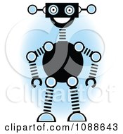 Clipart Robot Smiling Over A Blue Oval Royalty Free Vector Illustration by mheld