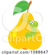 Clipart Green Worm Eating Through A Pear Royalty Free Vector Illustration by Alex Bannykh