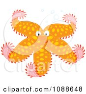 Clipart Happy Orange Starfish With Spots Royalty Free Vector Illustration
