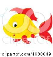 Clipart Cute Yellow Fish With Red Fins Royalty Free Vector Illustration