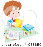 Clipart Studying School Boy With Books At A Desk Royalty Free Vector Illustration by Alex Bannykh