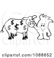 Clipart Squiggle Guy Petting His Cash Cow Royalty Free Vector Illustration by Toons4Biz