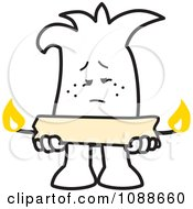 Squiggle Guy Holding A Candle Burning At Both Ends
